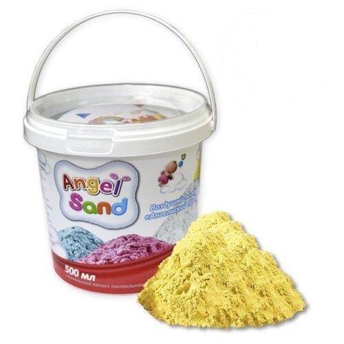 Кинетический песок Angel Sand Базовый, желтый, 0.5 л, пластиковый контейнер кинетический песок angel sand творчество 3 цвета 1 2 л