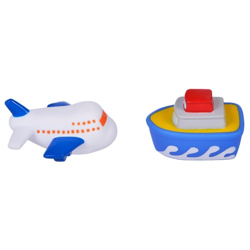 Купить Набор для ванной Жирафики Самолет и пароход (681265) белый/синий, Игрушки для ванной