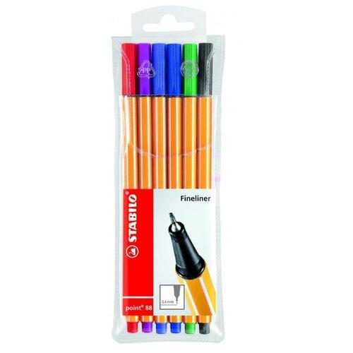 STABILO набор капиллярных ручек Point 88 6 цветов, 0.4 мм (88/6) stabilo stabilo набор капиллярных ручек point 88 mini 18 цветов