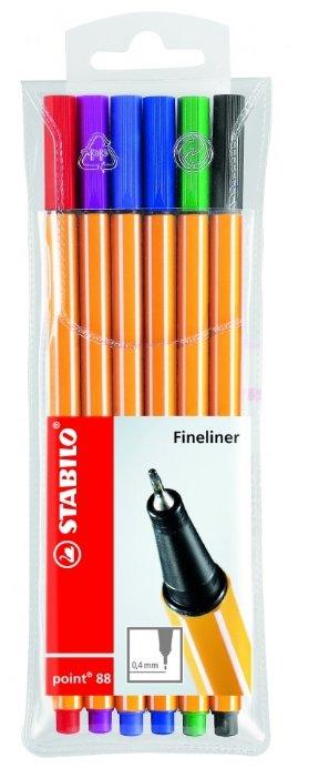STABILO Набор капиллярных ручек point 88 6 цветов, 0.4 мм (88/6)