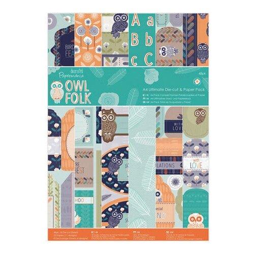 Бумага docrafts А4, 48 листов, Owl Folk зеленый/оранжевый