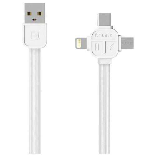 Кабель Remax Lesu USB - USB Type-C/Lightning/microUSB (RC-066th) 1 м белый кабель remax lesu usb usb type c lightning microusb rc 066th 1 м белый