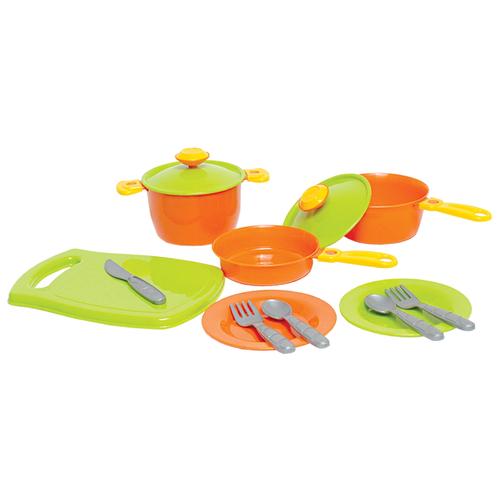 Купить Набор посуды ТехноК 3251 зеленый/оранжевый, Игрушечная еда и посуда