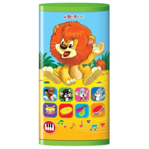 Интерактивная развивающая игрушка Азбукварик Смартфончик двусторонний Львёнок и мультяшки желтый/синий/зеленый