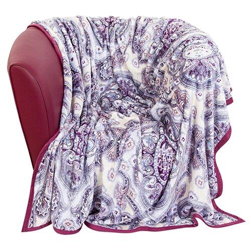 Плед EL CASA Персидский орнамент, 150 х 200 см, белый/синий/фиолетовый подушка декоративная el casa совы путешественники 43 43 см