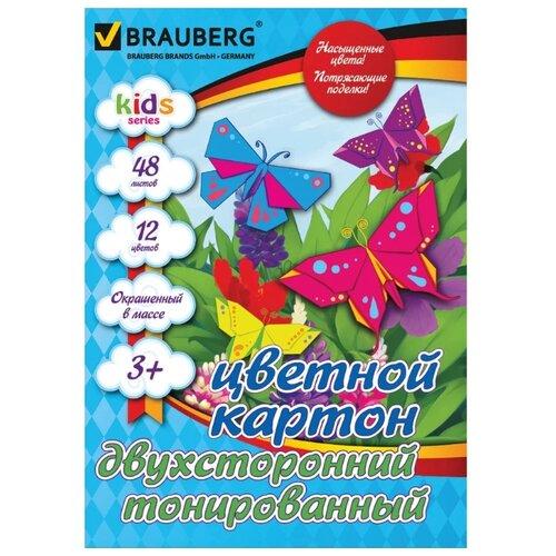 Купить Цветной картон тонированный в массе, Kids Series BRAUBERG, A4, 48 л., 12 цв., Цветная бумага и картон