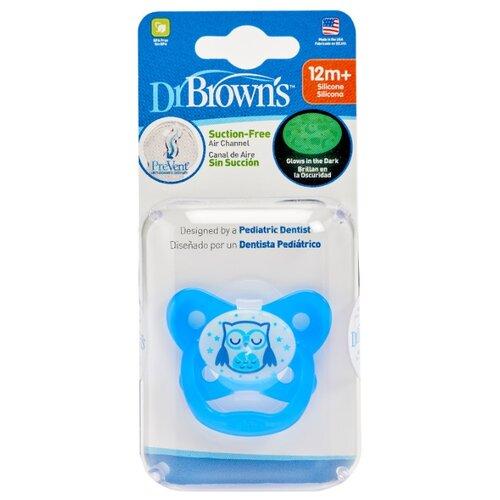 Пустышка силиконовая анатомическая Dr. Browns Prevent Contoured Glow-in-the-Dark 12+ (1 шт) голубойПустышки и аксессуары<br>