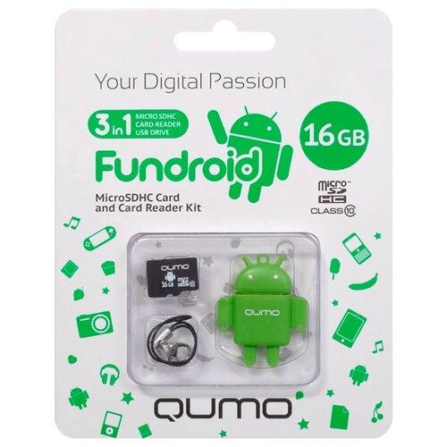 Карта памяти Qumo microSDHC class 10 16GB + Fundroid USB Card Reader зеленый