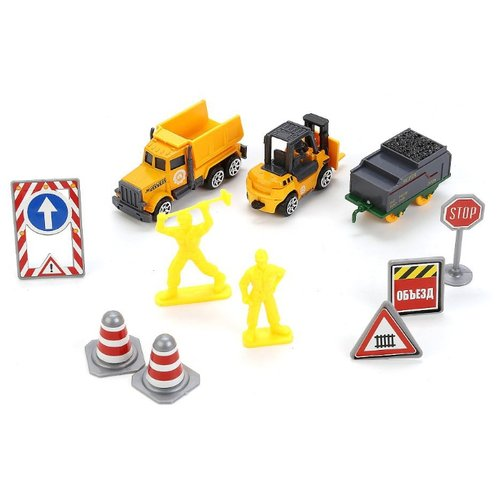 Купить Набор машин ТЕХНОПАРК из трех моделей Стройтехника с дорожными знаками (80913-1R) оранжевый, Машинки и техника