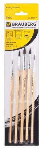 Набор кистей BRAUBERG белка, круглые, с короткой ручкой, 5 шт.
