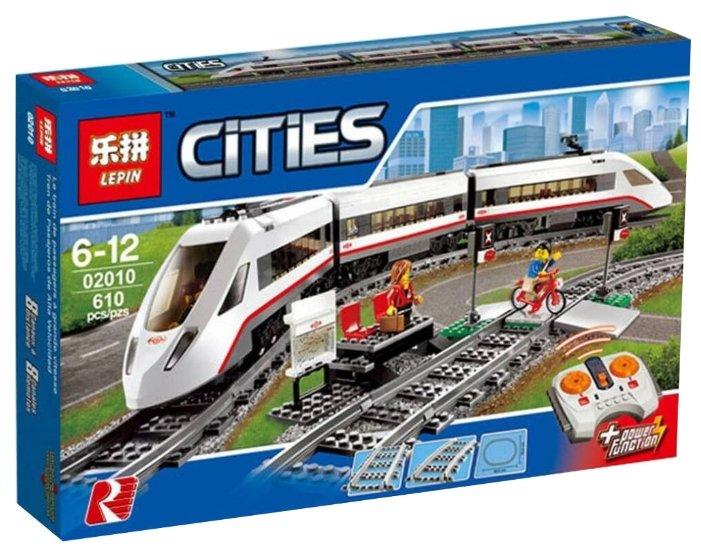 Электромеханический конструктор Lepin Cities 02010 Скоростной пассажирский поезд