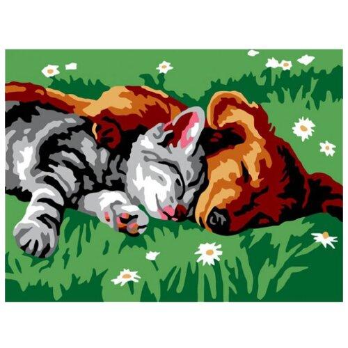 Купить Белоснежка Картина по номерам Котенок и щенок 30х40 см (210-CE), Картины по номерам и контурам
