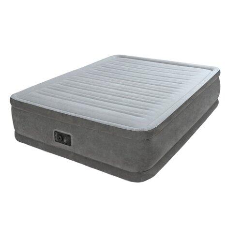 Надувная кровать Intex Comfort-Plush (64414) светло-серый/темно-серый intex кровать comfort plush 99х191х46 см со встроенным насосом 220в