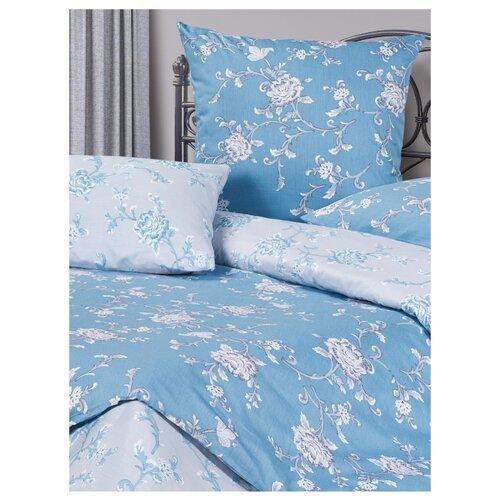 Постельное белье 1.5-спальное ECOTEX КГ1/Моника сатин синий/голубойКомплекты<br>