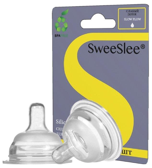Соска SweeSlee силиконовая, медленный поток 0м+ 2шт.