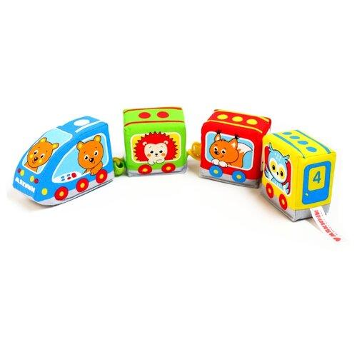 Развивающая игрушка Мякиши Паровозик - Лесные животные мякиши мягкая развивающая игрушка кубик слон