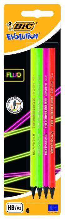 BIC Набор чернографитных карандашей Evolution Fluo 4 шт (940758)