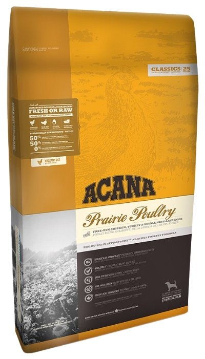 Сухой корм Acana Корм для собак Prairie Poultry, со вкусом цыпленка, 17 кг