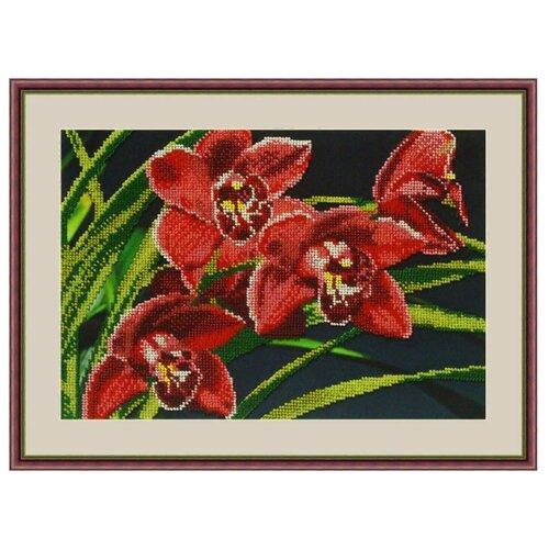 Galla Collection Набор для вышивания бисером Орхидеи 30 x 21 см (Л313) набор для вышивания galla collection бисером икона спас нерукотворный 23 x 27 см