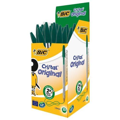 BIC Набор шариковых ручек Cristal Original, 1 мм (875976/847899/847898/847897), зеленый цвет чернил