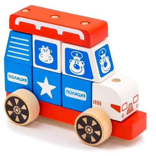 Купить Каталка-игрушка Alatoys Полицейская машина (ККМ03) красный/голубой/белый, Каталки и качалки