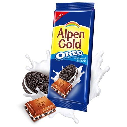 Шоколад Alpen Gold Oreo молочный с дробленым печеньем Орео, 95 г