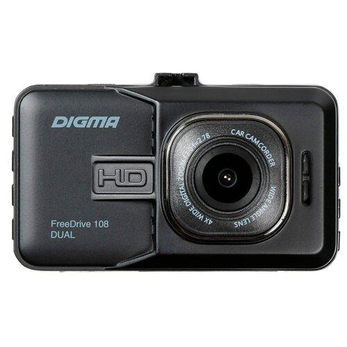 Видеорегистратор DIGMA FreeDrive 108 DUAL, 2 камеры черный видеорегистратор digma freedrive 303 mirror dual 4 3 1920x1080 120° microsd microsdhc датчик движения usb черный
