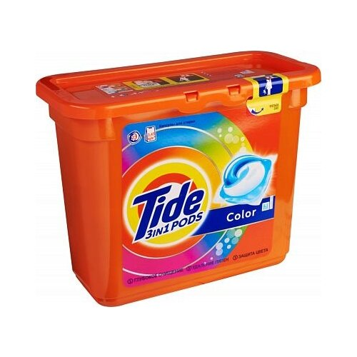 Капсулы Tide 3 in 1 Pods Color 23 шт. пластиковый контейнерКапсулы, таблетки, пластины<br>