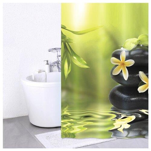 Штора для ванной IDDIS 680P18Ri11 180x200 зеленый/черный