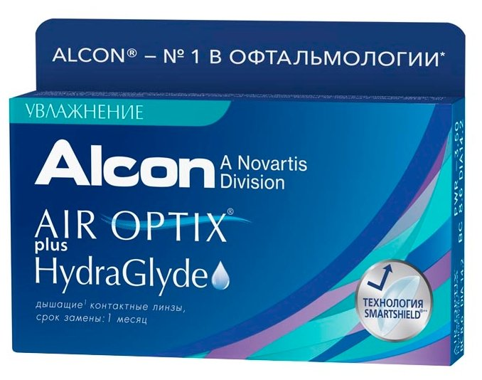 Контактные линзы Air Optix (Alcon) Plus HydraGlyde (3 линзы) R 8,6 D -1