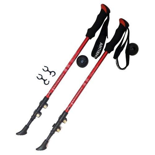 Палки для скандинавской ходьбы 2 шт. Hawk Телескопические с системой Антишок F18444 красный/черный