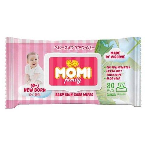 Влажные салфетки Momi Family, пластиковая крышка, 80 шт.