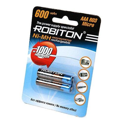Аккумулятор Ni-Mh 600 мА·ч ROBITON AAA R03 Micro 600 2 шт блистер катушка индуктивности jantzen cross coil 12 awg 2 mm 1 600 mh 0 240 ohm