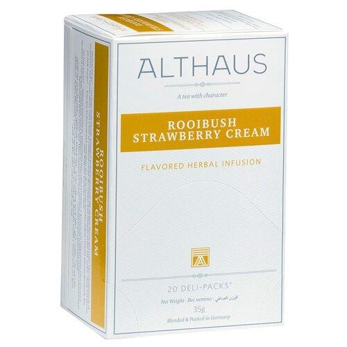 Чайный напиток травяной Althaus Rooibush Strawberry Cream в пакетиках, 20 шт.