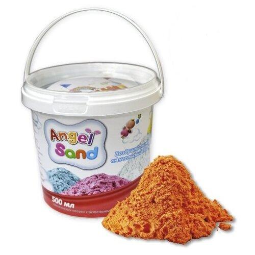 Кинетический песок Angel Sand Базовый, оранжевый, 0.5 л, пластиковый контейнер кинетический песок angel sand творчество 3 цвета 1 2 л