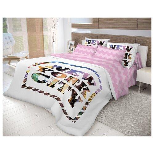 Постельное белье 2-спальное Волшебная ночь New York 702183 ранфорс розовый/белыйКомплекты<br>