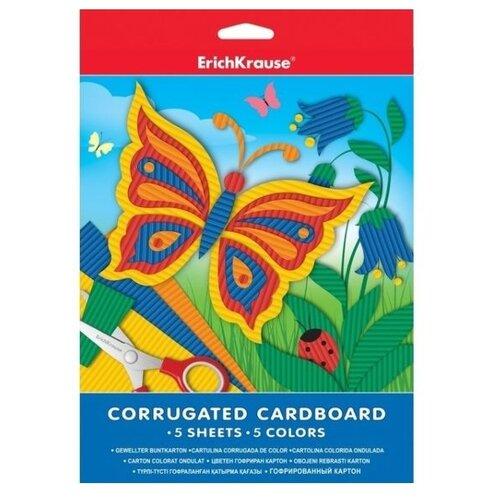 Купить Цветной картон гофрированный ErichKrause, A4, 5 л., 5 цв., Цветная бумага и картон