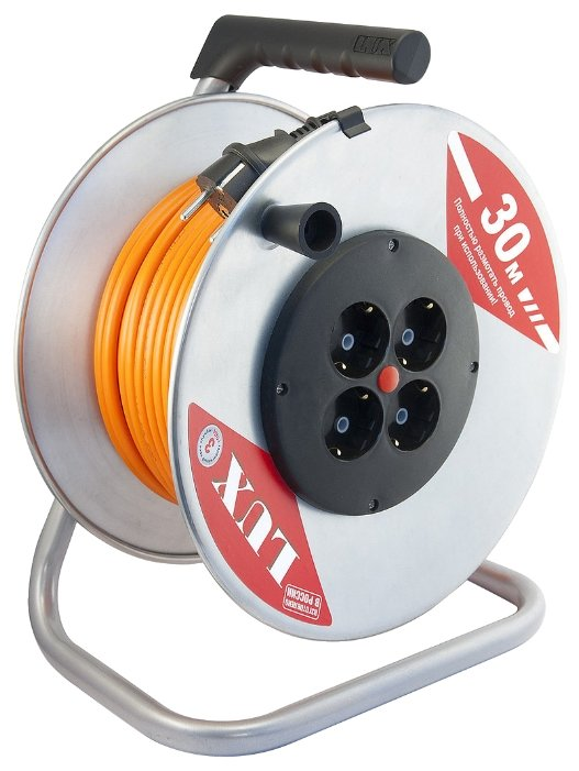 Удлинитель силовой LUX К4-Е-30 (40130), 30м, на катушке, кабель ПВС