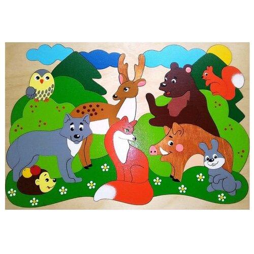 Купить Рамка-вкладыш Крона Лесные звери (143-069), 40 дет., Пазлы