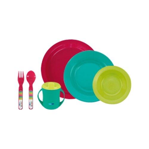 Купить Комплект посуды Bebe Due 6 предметов (80199) розовый/голубой/зеленый, Посуда