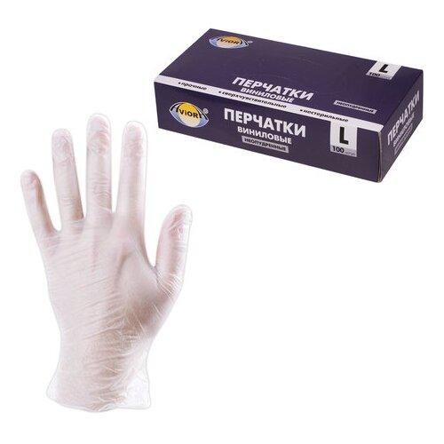 Перчатки Aviora Виниловые неопудренные, 50 пар, размер L, цвет белый