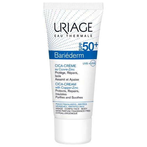 Фото - Uriage Bariederm солнцезащитный крем для кожи с повреждениями SPF 50 40 мл uriage комплект изолирующий восстанавливающий крем для рук 50мл ксемоз крем для лица 40мл uriage bariederm