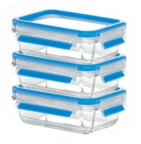 EMSA Набор из 3 контейнеров CLIP & CLOSE GLASS 514170 голубой/прозрачный