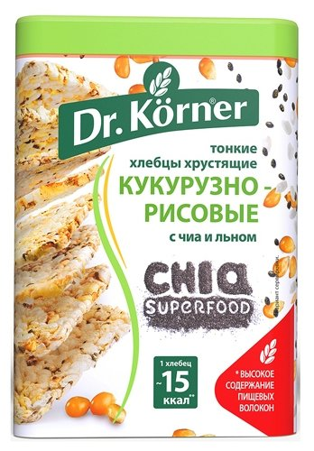 dr. korner хлебцы кукурузнорисовые с чиа и льном 100г.