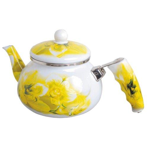 Bohmann Чайник эмалированный 2 л, белый/желтый чайник greentop цвет белый желтый 2 5 л