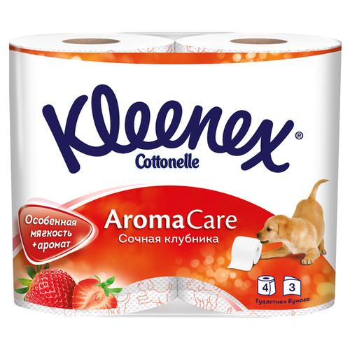 Туалетная бумага Kleenex Сочная клубника трёхслойная, 4 рул.Туалетная бумага и полотенца<br>