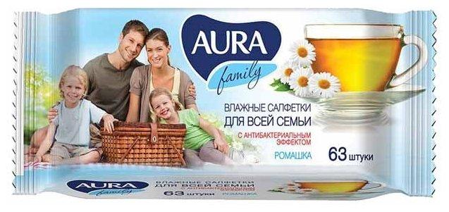 Влажные салфетки Aura Family антибактериальные с отваром ромашки 63 шт.