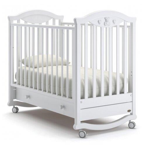Кроватка Nuovita Lusso (колесо) (качалка), на полозьях белый кроватка гандылян дашенька колесо качалка белый