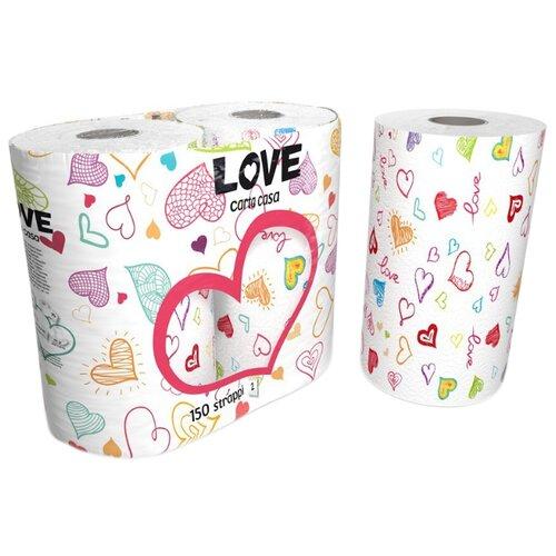 Полотенца бумажные World Cart Kartika collection Love белые с рисунком двухслойные 75 л/рул салфетки бумажные world cart товары для дома белый