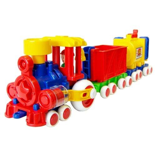 Купить Каталка-игрушка Форма Паровозик Ромашка (С-119-Ф) красный/синий/желтый, Каталки и качалки